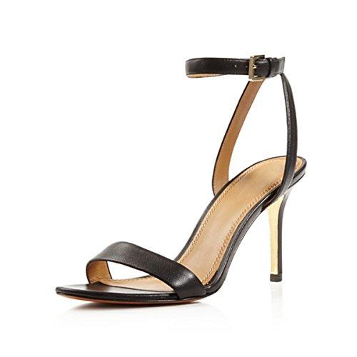 Damen Open Toe Sandalen High-Heels Stiletto Knöchelriemchen Slingback Schwarz