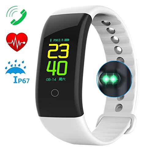DOUDOU Fitness Armband, Wasserdicht Fitness Tracker Farbbildschirm Smartwatch Aktivitätstracker Pulsuhren Smart Watch Schrittzähler Uhr Vibrationsalarm Anruf SMS Whatsapp Beachtenfür iOS Android Handy