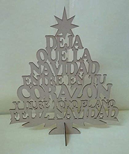 Arbre Arbre Arbre de Noël de Noël heureux de MDF avec pié 60 cm de haut. Travaux Femmeuels avec bois B0776CJBHQ f5e191