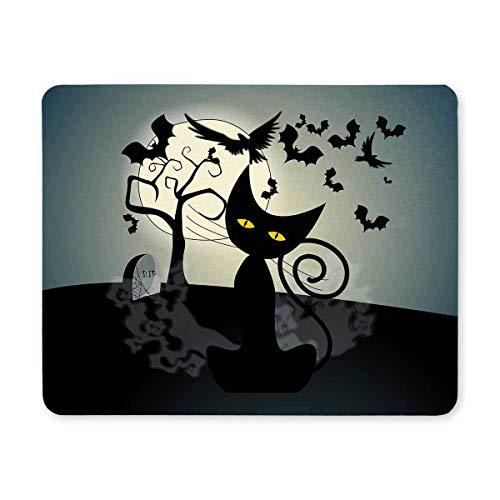 lmond Fledermäuse und schwarze Katze Rechteck rutschfeste Gummi komfortable Computer Mauspad Gaming Mousepad Matte mit Designs für Office Home Frau Mann Mitarbeiter Chef Arbeit ()