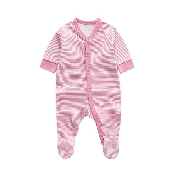 Bebé Niñas Mono Mameluco Manga Larga Infante Ropa de Dormir AlgodóN Pelele Raya Nube Rosado Pijama 1
