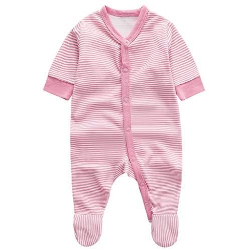 Neonato bambino ragazze pagliaccetto pigiama manica lunga infantile body cotone bimba tutine striscia prima infanzia bambina rosa abiti 0-3 mesi