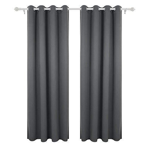 Deconovo tende oscuranti termiche isolanti tende da sole con occhielli per casa moderna 140x260 cm grigio chiaro 2 pannelli