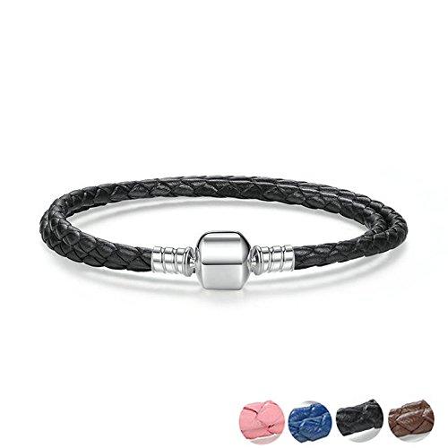 Genuine doppio lungo rosa nero blu in vera pelle catena donne caffè intrecciato con argento sterling 925serpente chiusura e 925, colore: nero, cod. 1