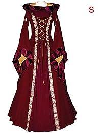 Waroomss Natale Regina Cosplay Donne Elegante Sottile Abito a Maniche  Lunghe Costume Abito Lungo e5c1159e241