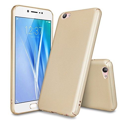 "Ipaky 4 cut All Sides Protection ""360 Degree"" Sleek Rubberised Matte Hard Case Back Cover For Vivo Y55 - Gold"