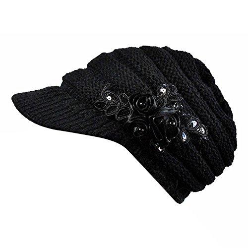 Damen Zopfmuster-Masken-Hut mit Blumen Akzent (schwarz)