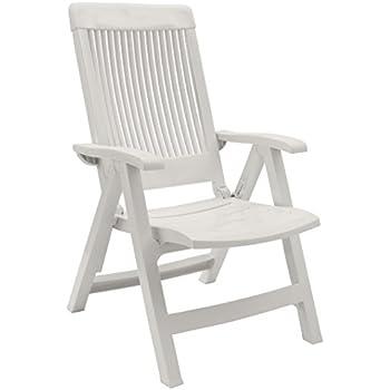 Jardin chaise fauteuil pliant brasilia plastique blanc - Chaise jardin pliante plastique ...
