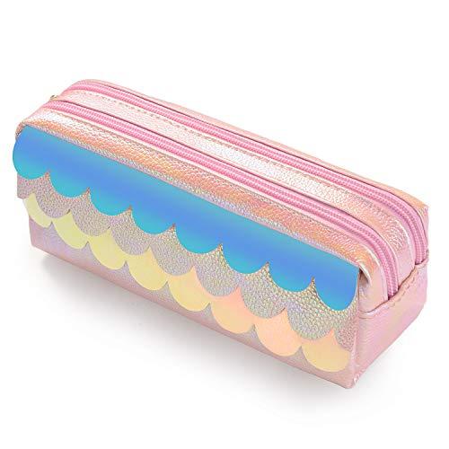 Astuccio scuola grande, kawaii portapenne per bambini, borsone da viaggio cosmetiche belle multiuso per donne adolescenti, con 2 cerniere, 8,3 x3,1 x3 pollici (squame di pesce rosa)