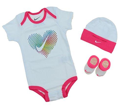 Nike Girls 3-teiliges Herz Box Set (0-6 Monate, Schwarz) (Baby-schuh-box)