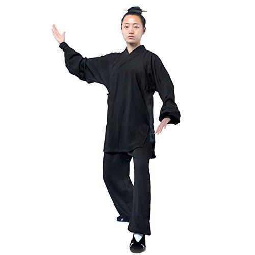 G-like Tai Chi Uniform Kleidung - Qi Gong Kampfkunst Wing Chun Shaolin Kung Fu Training Dao Bekleidung - Hanf (Schwarz, L) (Dragon Kung Fu Training)