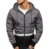 SEWORLD Herren Herbst Winter Sport Charm Herren Slim Fit Beiläufige Langarm Outwear Warmer Reißverschluss Taschen Fit Kapuzenjacke Mantel(B-dunkelgrau,EU-50/CN-L)