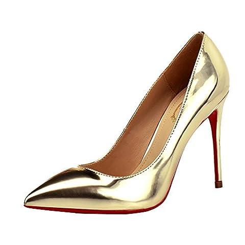 HWAN Frauen gl?nzende Pump Spitz High Heel Hochzeit Schuhe Licht Gold