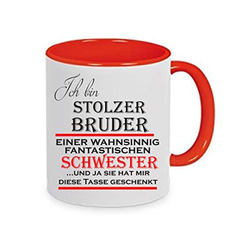 crealuxe Ich Bin stolzer Bruder Einer wahnsinnig fantastischen Schwester und ja. - Kaffeetasse mit Motiv, Bedruckte Tasse mit Sprüchen oder Bildern