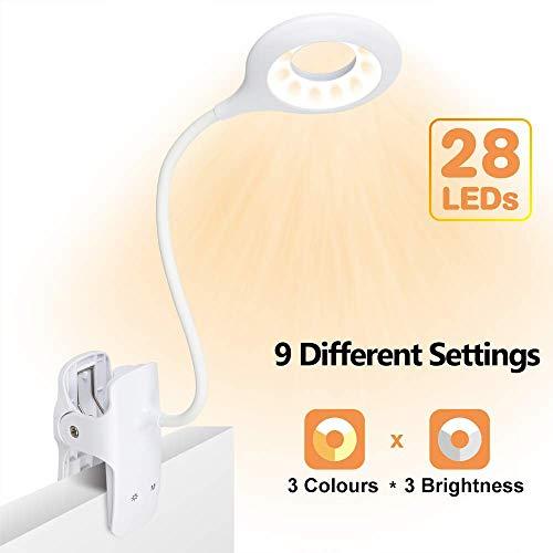Luz de lectura con clip, luz de libro LED 28 Eye Protect, luz de lectura de cama de 3 colores * 3 brillos...