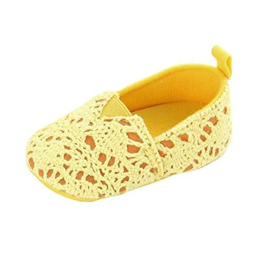 kingko® Säuglingsbaby -Beleg auf Schuhe Anti-Rutsch-erster Wanderer Gelb