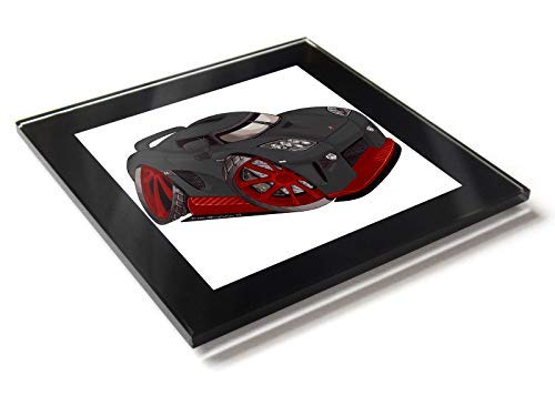 Koolart Koenigsegg - Posavasos de cristal CCX con caja de regalo, rojo & negro, 10 cm x 10 cm
