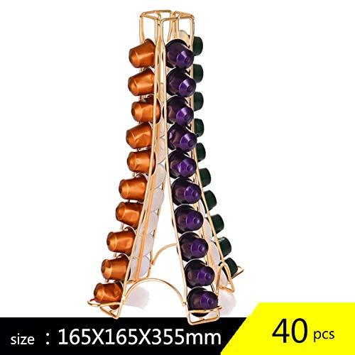 QXM 40 Stücke Kapsel Kaffeepad Halter Kaffeekapsel Dispensing Tower Ständer für Nespresso Kapsel Lagerung Kaffeestand,Gold