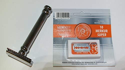 Im Set: Merkur Rasierhobel 47C (langer Griff) & 10 Merkur Rasierklingen