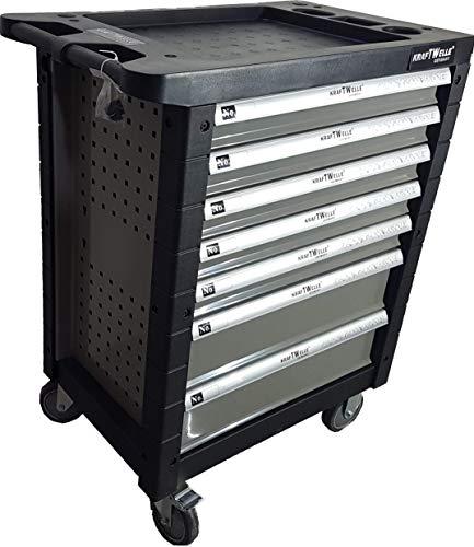 Werkzeugwagen Werkstattwagen 7 Schubladen gefüllt mit Werkzeugen - Rollwagen mit Räder und Feststellbremse, stabile Arbeitsplatte für ein ordentliches Arbeiten (Grau)
