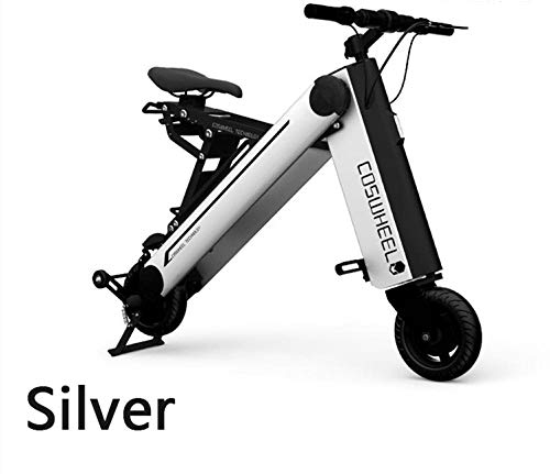 Hold E-Bikes Mini Folding Electric Car Erwachsene Lithium-Batterie Fahrrad Dreirad Lithium-Batterie Faltbare tragbare Reise-Batterie Auto@Silber_10inch45KM