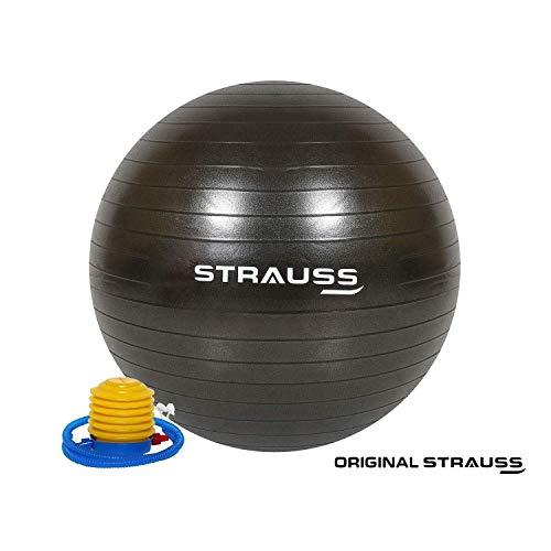 Strauss Anti Burst Gym Ball with Foot Pump, 65 cm, (Black)