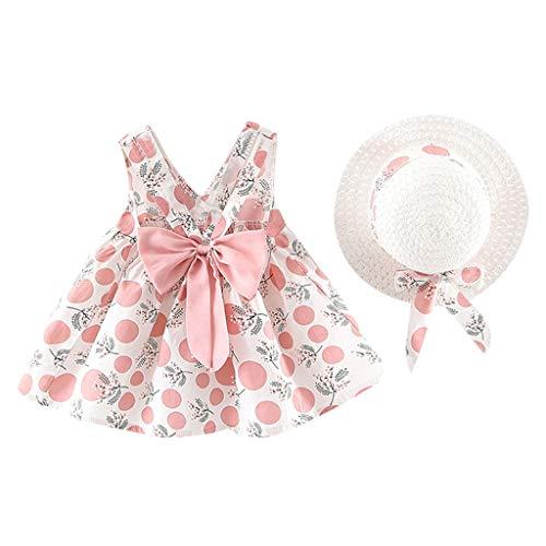 LSAltd Kleinkind Baby Kinder Mädchen Sommer Süße Blumen Polka Dot Print Bowknot Sling Prinzessin Kleid Mit Hut Outdoor Strand Schönes Outfit Set