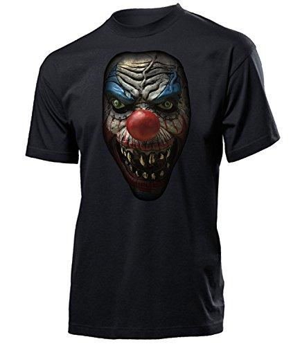 Killer Clown 5959 Halloween Kostüm Herren Männer T-Shirt Partner Zubehör Oberteil Maske Umhang Zylinder Ballons Beleuchtung Overall Zähne Messer -