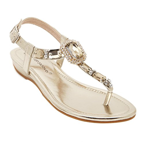 Weweya Femmes Mode Strappy Strass Strap Plat Jewelled Sandales Or