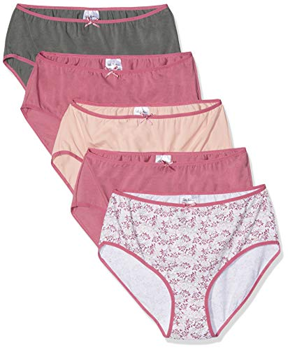 Ulla Popken Große Größen Damen Taillenslip Slip 5er Pack, Aquarellblumen, Mehrfarbig (Multicolor 90), 56 (Herstellergröße: 54+)