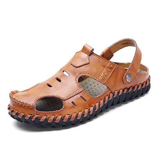 Vaxiuja-shoes Sandali Piatti Traspiranti da Uomo Sandali Sportivi Pescatore Camminare all'aperto Spiaggia Pantofole da Viaggio in Pelle Chiuso con Punta Chiusa Antiscivolo Scarpe da Mare comode