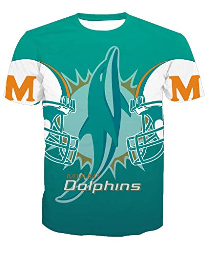 Herren Oansatz Kurzarm 3D Print Miami Dolphin Football Team Sommer T-Shirts(3XL,Blue)