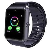 Bluetooth SmartWatch 3,9cm Smart Watch Mehrere Sprachen mit Kamera und unterstützt Sim & TF Karte Smart Watch Band Armband für Android Handy Kompatibel (Schwarz)