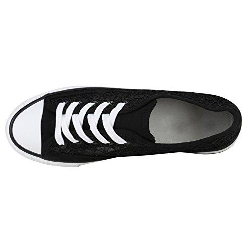 Damen Sneakers Sportschuhe Sneaker Low Denim Stoffschuhe Blumen Camouflage Flandell Schwarz Spitze