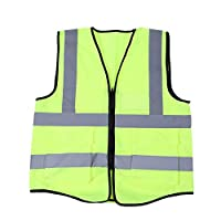 Vikye Reflective vests, Multicolor Reflective High Visibility Vest Normal Size Safety Security Waistcoat (Fluorescent Green/Orange/Blue/Red)(Fluorescent Green)