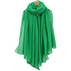 Bufandas Mujer Larga Mezcla Algodon Bufanda Mujeres Caliente Suave Color Puro Bufanda Primavera Otoño Invierno Verde oscuro