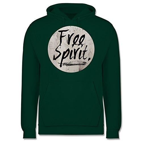 Statement Shirts - Free Spirit - Männer Premium Kapuzenpullover / Hoodie Dunkelgrün