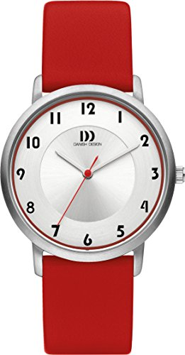 Danish Design Women's Quartz Watch with White Dial Analogue Display and Red Leather Strap DZ120421