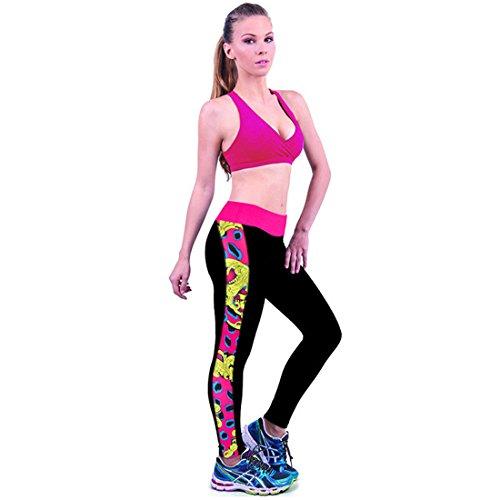 Culater® 1PC Mode de Taille élastique Pantalon S-Type Maigre Jambières d'impression de Side Rose