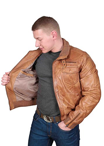 Herren Gepaßte Bomber Lederjacke Designer weiche hochwertige Mantel George hellbraun - 5