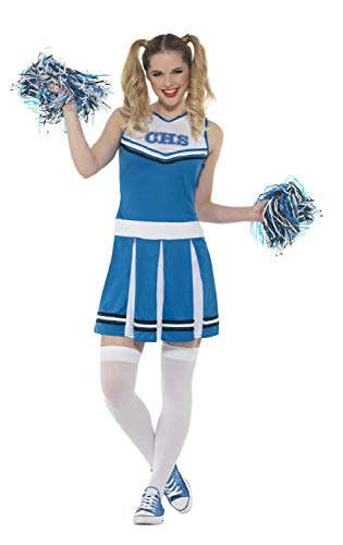 Ladies Blue White Cheerleader With Pom Poms American Sports USA Hen Night Do Carnival Fancy Dress Costume Outfit UK 4-18 (UK - Womens Blue Cheerleader Kostüm