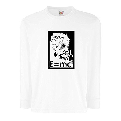 lepni.me Kinder-T-Shirt mit Langen Ärmeln Physikwissenschaftler Albert Einstein, Geschenk für Wissenschaftsliebhaber (12-13 Years Weiß Schwarz)