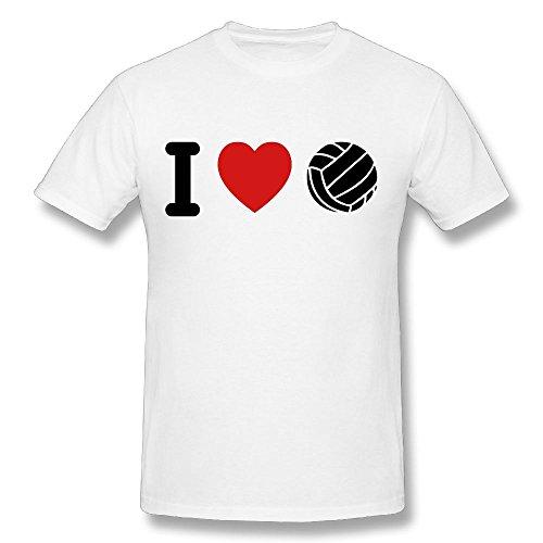 Umwfrlrgptyl Men's I Love Volleyball F2 T-shirt 6XL White Short Sleeve
