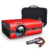 VANKYO Leisure 410 Mini Beamer LED Projektor 2500 Lumen, Heimkino Beamer Full HD 1080P unterstützt, Kompatibel mit Fire TV Stick HDMI VGA USB AV TF für Smartphone Laptop, rot