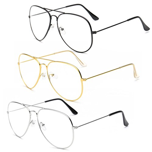Brille im Retro-Stil, mit transparenten Gläsern gold