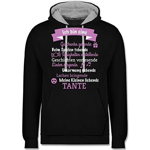 Schwester & Tante - Ich bin eine ... Tante! - Kontrast Hoodie Schwarz/Grau Meliert