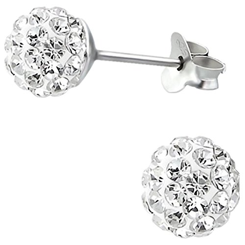 EYS JEWELRY Damen Ohrstecker Glitzer Perlen 925 Sterling Silber 6 mm Kristall Kugel Ohrringe im Geschenketui