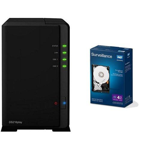 "Preisvergleich Produktbild Set Synology DS216PLAY NAS-System + WD 4TB Purple interne Festplatte 3,5"" Desktop SATA Retail Kit (inkl. Einbau Set) SATA 64MB WDBGKN0040HNC-ERSN"
