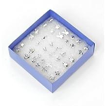 18 pares / Caja Bonito Piercing Pendientes Color Plata Joyería Múltiples Estilos