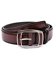 BuckleUp Mens Maroon Leather Belt